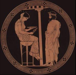Egeo, mítico rey de Atenas, consultando a la Pitia, el Oráculo délfico, que está sentada en un trípode.
